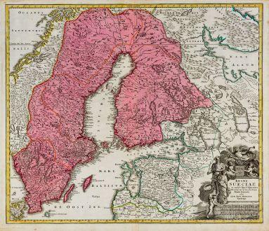 Antike Landkarten, Homann, Schweden, 1720: Regni Sueciae in Omnes suas Subjacentes Provincias Accurate Divisi Tabula Generalis ...