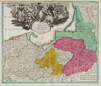 Antike Landkarten, Homann, Polen, Preußen, Königsberg, Danzig, 1720: Regnum Borussiae gloriosis auspicijs Seerenissimi et Potentissimi Princip Friderici III. Primi Borussiae Regis March. et...