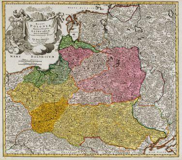 Antike Landkarten, Homann, Polen, 1720: Regni Poloniae Magnique Ducatus Lithuaniae Nova et Exacta Tabula