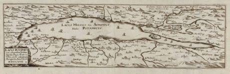 Antique Maps, Bucelin, Germany, Lake Constance, 1667: Lacus potamici cum adjacentibus urbibus, oppidis, pagis, castris, villis, obiter adumbrata designatio. Anno Christi MDCLXVII