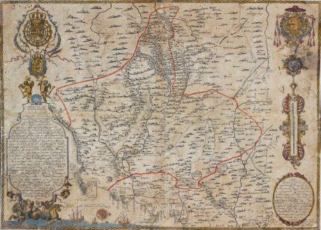 Antique Maps, Vidal y Pinilla, Spain - Portugal, Murcia, Cartagena, 1724: Obispado de Cartaxena Reino de Murcia ...