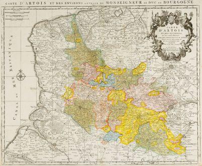 Antike Landkarten, de l Isle, Frankreich, Pas-de-Calais, 1740: Carte d'Artois et des Environs ...