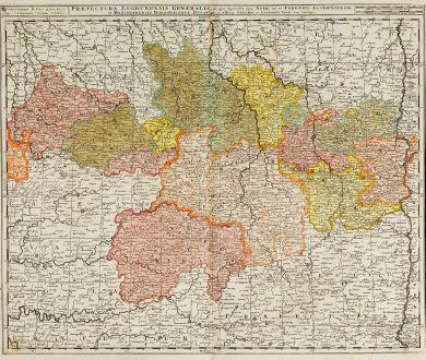 Antike Landkarten, Valk, Frankreich, Auvergne-Rhone-Alpes, 1720: Praefectura Lugdunensis Generalis, in qua Specialis Ejus Ager, ut et Forensis, Alverniensis et Marchianensis Borboniusque...