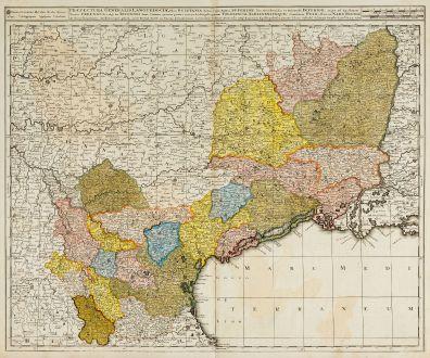 Antike Landkarten, Valk, Frankreich, Languedoc-Roussillon, 1720: Praefectura Generalis Languedociae ...