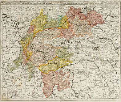 Antique Maps, Valk, France, Ile-de-France, 1720: Gubernatio Insulae Franciae, Divisa in Electiones ...