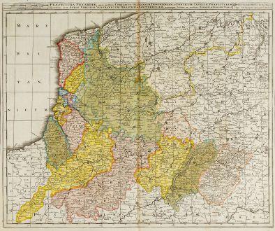 Antique Maps, Valk, France, Pas-de-Calais, Picardie, 1720: Praefectura Piccardiae, eaque Partita in Comitatus Guinensem ...