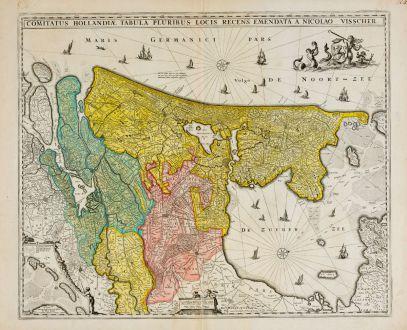 Antike Landkarten, Visscher, Niederlande, Holland, 1677: Comitatus Hollandiae Tabula Pluribus Locis Recens Emendata a Nicolao Visscher