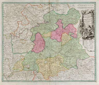 Antike Landkarten, Homann, Deutschland, Bayern, 1720: Palatinatus Bavariae vulgo die Obere Pfaltz