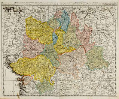 Antike Landkarten, Valk, Frankreich, 1720: Aurelianensis Praefectura Generalis ...