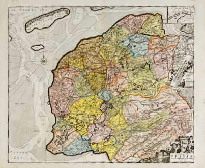 Antique Maps, de Wit, Netherlands, Friesland, 1680: Tabula Comitatus Frisiae ...