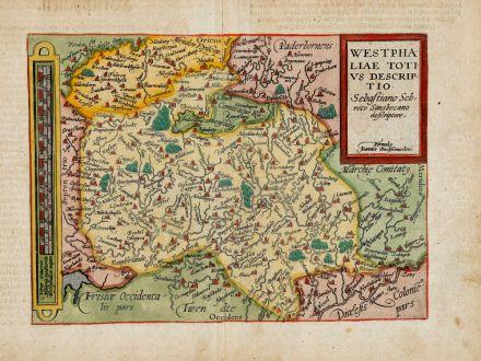 Antike Landkarten, Quad, Deutschland, Nordrhein-Westfalen, 1600: Westphaliae totius descriptio