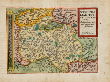 Antique Maps, Quad, Germany, North Rhine-Westphalia, 1600: Westphaliae totius descriptio