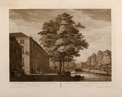 Antique Maps, Fouquet, Netherlands, Amsterdam, Waale Weeshuys, 1775: Gezicht van het Waale Weeshuys