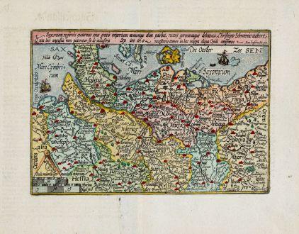 Antique Maps, Quad, Germany, Northern Germany, 1600: Saxonum regionis quatenus eius gentis imperium nomenque olim patebat, recens germanaque delineatio