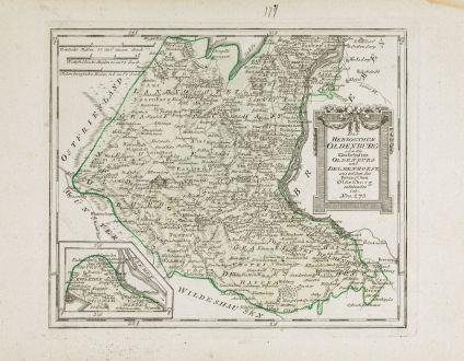 Antike Landkarten, von Reilly, Deutschland, Niedersachsen, Oldenburg, 1790: Das Herzogthum Oldenburg oder die Grafschaften Oldenburg und Delmenhorst ...