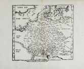 Antique woodcut map of Germany. Printed in Lyon by Gaspar Trechsel in 1541.