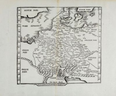 Antike Landkarten, Fries, Deutschland, 1541: [De Boemia. / Tabula quarta & quinta Europae de nonnullis / Germaniae ...]