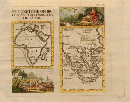 Antike Landkarten, Pluche, Griechenland, 1740: El puerto de ophir yla antigua derrota de tarsis / La Grecia Y Onia