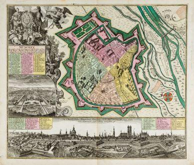Antike Landkarten, Seutter, Deutschland, Bayern, München, 1730: München, die weitberühmt, praechtig und wohl fortificirte Chur-Fürstl. Haupt u. Residenz Stadt des Herzogthums Bayern.