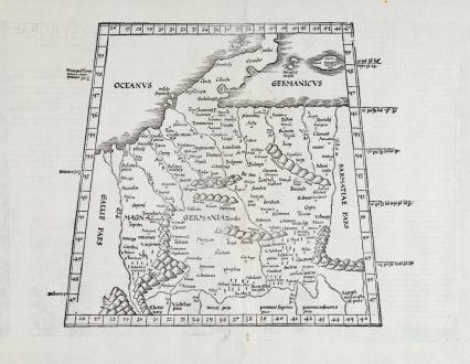 Antike Landkarten, Fries, Deutschland, 1525: [Tabula IIII. Europae / Hae sunt e cognitis totius orbis Prouincijs seu Prefecturis quas quarta Europae tabula complectitur....