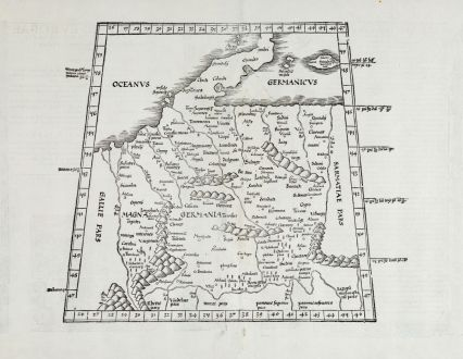Antique Maps, Fries, Germany, 1525: [Tabula IIII. Europae / Hae sunt e cognitis totius orbis Prouincijs seu Prefecturis quas quarta Europae tabula complectitur....