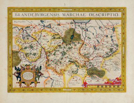 Antike Landkarten, Ortelius, Deutschland, Brandenburg, Berlin, 1608 oder 1612: Brandenburgensis Marchae Descriptio