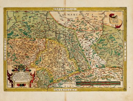 Antike Landkarten, Ortelius, Deutschland, Thüringen, Sachsen-Anhalt, Sachsen: Saxoniae, Misniae, Thuringiae, Nova Exactissimaq. Descriptio