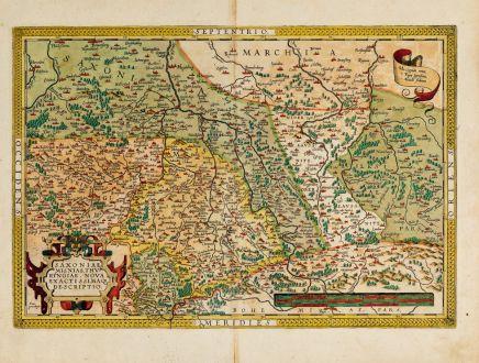 Antique Maps, Ortelius, Germany, Thuringia, Saxony-Anhalt, Saxony, 1603: Saxoniae, Misniae, Thuringiae, Nova Exactissimaq. Descriptio