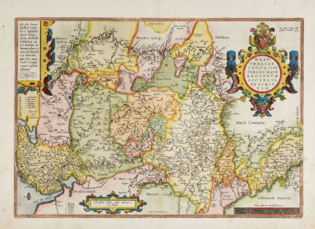 Antique Maps, Ortelius, Germany, Lower Saxony, North Rhine-Westphalia, 1588: Westphaliae Totius, Finitimarumque Regionum Accurata Descriptio