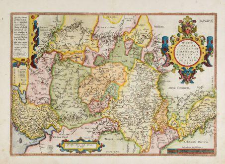 Antique Maps, Ortelius, Germany, Lower Saxony, North Rhine-Westphalia, 1588: Westphaliae Totius, Finitimarumque Regionum Accurata Descriptio