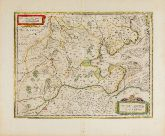 Old coloured map of Oldenburg, Lower Saxony. Printed in Amsterdam by J. Janssonius in 1646.