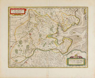 Antike Landkarten, Janssonius, Deutschland, Niedersachsen, Oldenburg, 1646-57: Oldenburg Comitatus