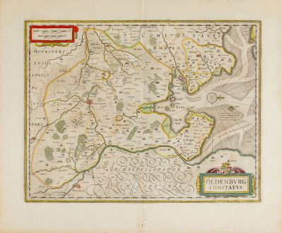 Antique Maps, Janssonius, Germany, Lower Saxony, Oldenburg, 1646-57: Oldenburg Comitatus