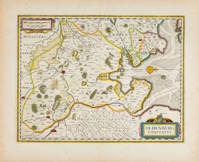 Antike Landkarten, Blaeu, Deutschland, Niedersachsen, Oldenburg, 1638: Oldenburg Comitatus