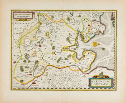 Antique Maps, Blaeu, Germany, Lower Saxony, Oldenburg, 1638: Oldenburg Comitatus