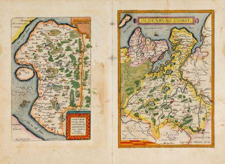 Antike Landkarten, Ortelius, Deutschland, Niedersachsen, Schleswig-Holstein: Oldenburg Comit. / Thietmarsiae, Holsaticae Regionis Partis Typus