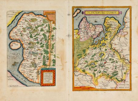 Antique Maps, Ortelius, Germany, Lower Saxony, Schleswig-Holstein, 1609-41: Oldenburg Comit. / Thietmarsiae, Holsaticae Regionis Partis Typus