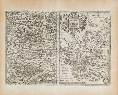Antique Maps, Ortelius, Germany, North Rhine-Westphalia, Bavaria, Franconia: Franciae Orientalis (vulgo Franckenlant) Descriptio / Monasteriensis et Osnaburgensis Episcopatus Descriptio
