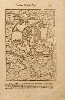Antike Landkarten, Münster, Nordafrika, Tunis, 1580: Tunis
