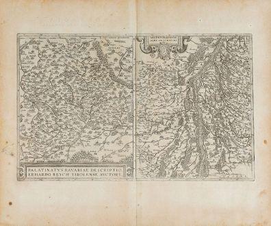 Antike Landkarten, Ortelius, Deutschland, Baden-Württemberg, Bayern, Oberpfalz: Palatinatus Bavariae Descriptio / Argentoratensis Agri Descriptio