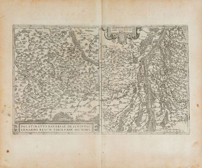 Antique Maps, Ortelius, Germany, Baden-Württemberg, Bavaria, Upper Palatinate: Palatinatus Bavariae Descriptio / Argentoratensis Agri Descriptio