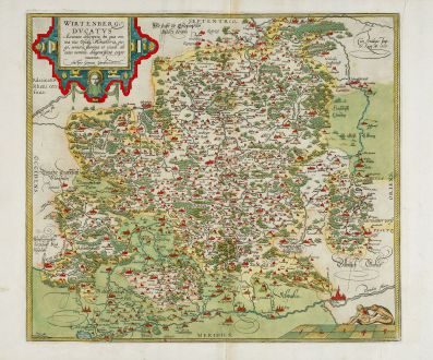 Antique Maps, Ortelius, Germany, Baden-Württemberg, 1579: Wirtenberg Ducatus