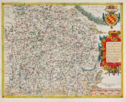 Antike Landkarten, Ortelius, Deutschland, Bayern, 1579: Bavariae olim Vindeliciae, Delineationis Compendium ex Tabula Philippi Apiani Math.