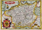 Kolorierte Landkarte von Deutschland. Gedruckt bei A. Ortelius im Jahre 1572 in Antwerpen.