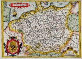 Coloured map of Germany. Printed in Antwerp by A. Ortelius in 1572.