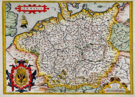 Antike Landkarten, Ortelius, Deutschland, 1572-73: Germania