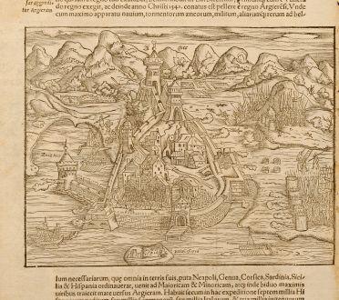 Antike Landkarten, Münster, Nordafrika, Algier, 1580: Algier
