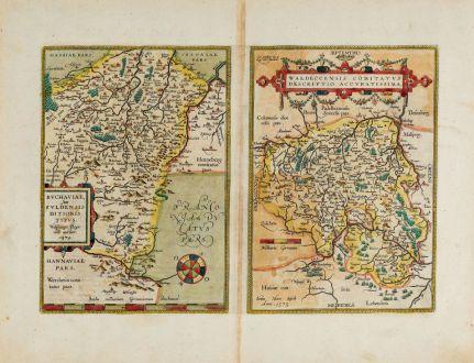 Antike Landkarten, Ortelius, Deutschland, Hessen, Waldeck, Fulda, 1603: Buchaviae, sive Fuldensis Ditionis Typus / Waldeccensis Comitatus Descriptio Accuratissima