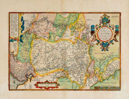 Antike Landkarten, Ortelius, Deutschland, Niedersachsen, Nordrhein-Westfalen: Westphaliae Totius, Finitimarumque Regionum Accurata Descriptio