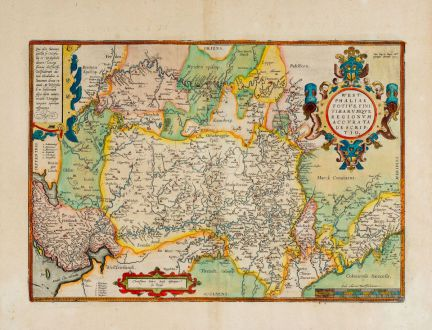 Antique Maps, Ortelius, Germany, Lower Saxony, North Rhine-Westphalia, 1603: Westphaliae Totius, Finitimarumque Regionum Accurata Descriptio